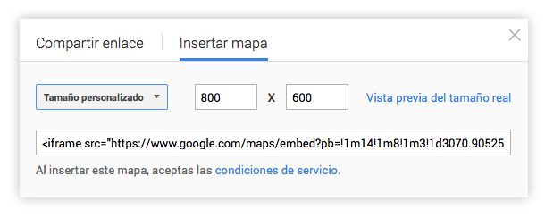 Dimensiones google maps